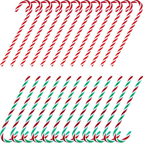 TecUnite 24 Pieces Christmas Acrylic Candy Canes Twisted Toy Crutch for Christmas Tree Hanging Decorations