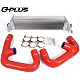 Twin Intercooler Upgrade + Silicone Red Pipe Kit For Volkswagen Golf R GTI MK7