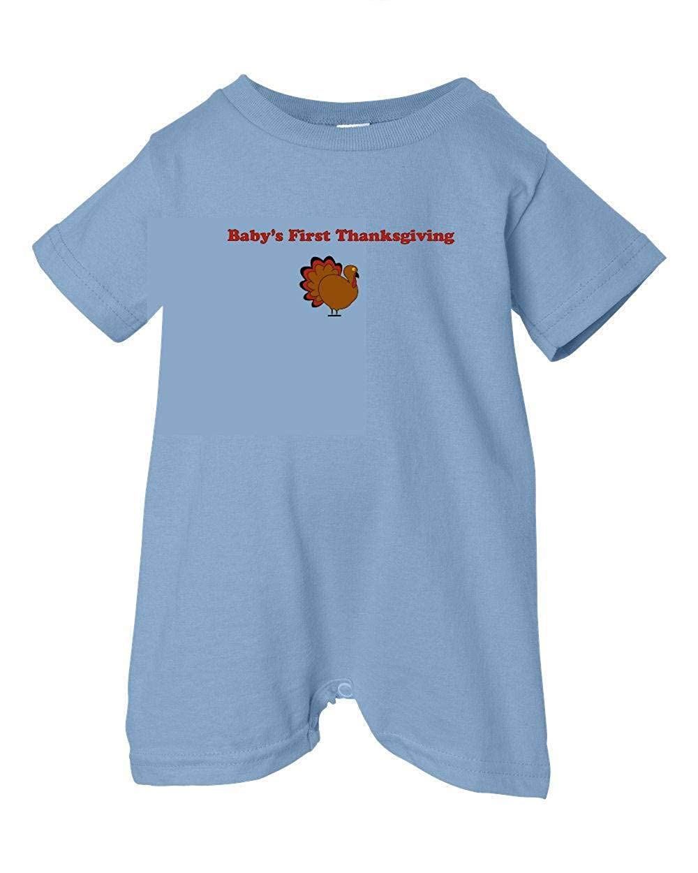 Gobble Lt. Blue, 6 Months T-Shirt Romper Festive Threads Unisex Baby Babys First Thanksgiving