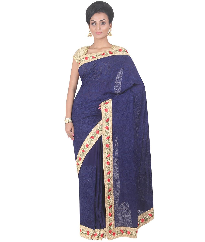 Indian Ethnic Georgette Navy Blue Party Wear Saree Saree