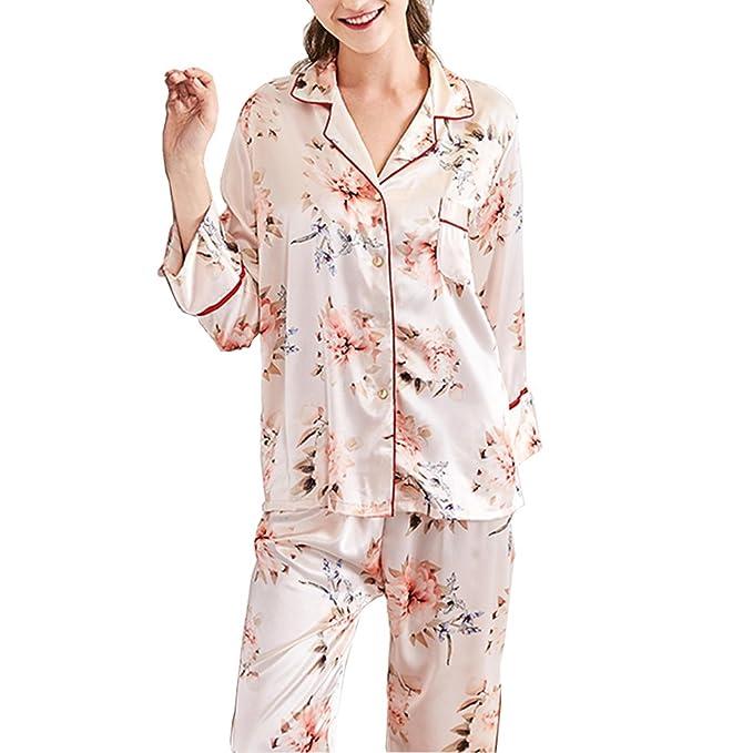 BOYANN Pijamas Mujer Primavera Otoño de Satén Ropa de Dormir M