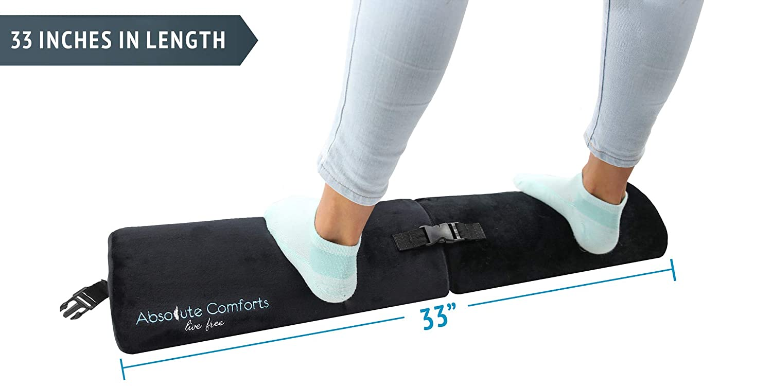 Foot Rest Under Desk : New Multi-Functional Ergonomic Footrest Design w/Adjustable Length for Office & Home - Resilient Foam Cushion with Anti-Slip Bottom Foot Stool Rocker for Absolute Comfort