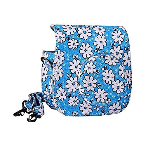 Hurricanes Vintage Flower Floral PU Leather Case Bag for Fujifilm Instax Mini 8 Instant Film Camera with Removable Shoulder Strap (Blue)