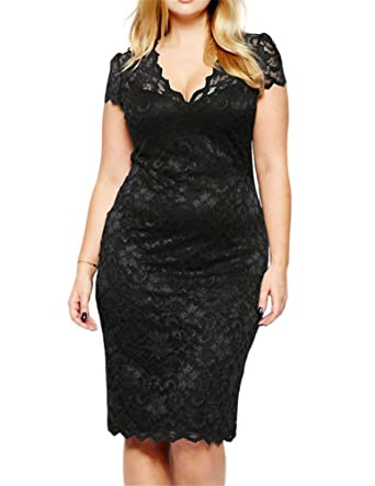 Amazon Vigvog Womens Elegant Plus Size Lace Overlay A Line