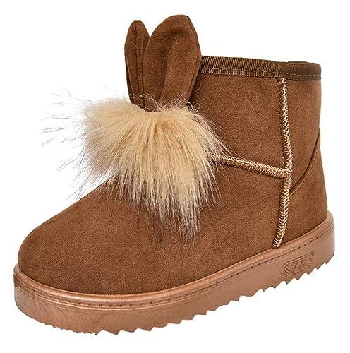 La vogue Botas de Nieve para Niñas Botines Antideslizantes con Orejas Invierno Forro Polar: Amazon.es: Zapatos y complementos