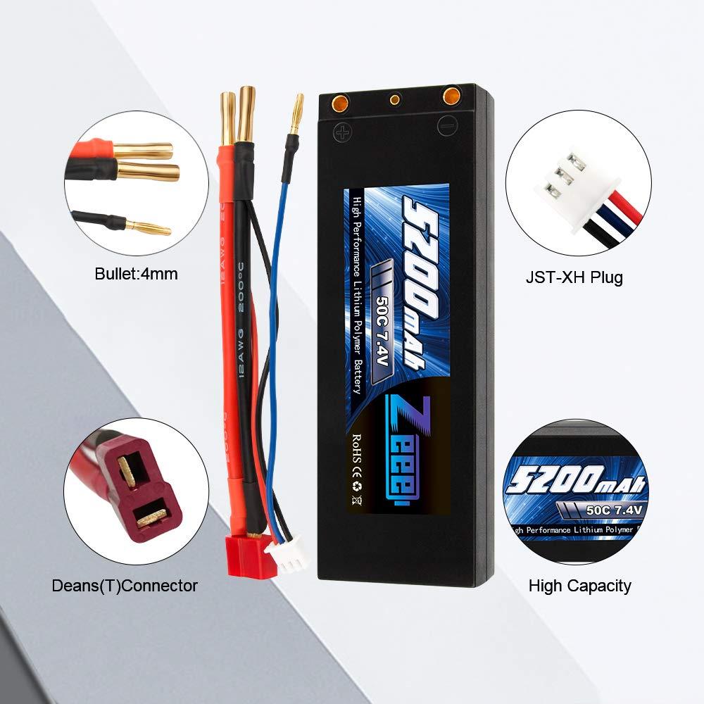Zeee 5200mAh 2S Lipo Akku 7.4V 50C LiPo Batterien Hard Case mit 4.0 mm Banana to Deans Plug f/ür RC Auto RC Hobby RC Flugzeug RC Hubschrauber