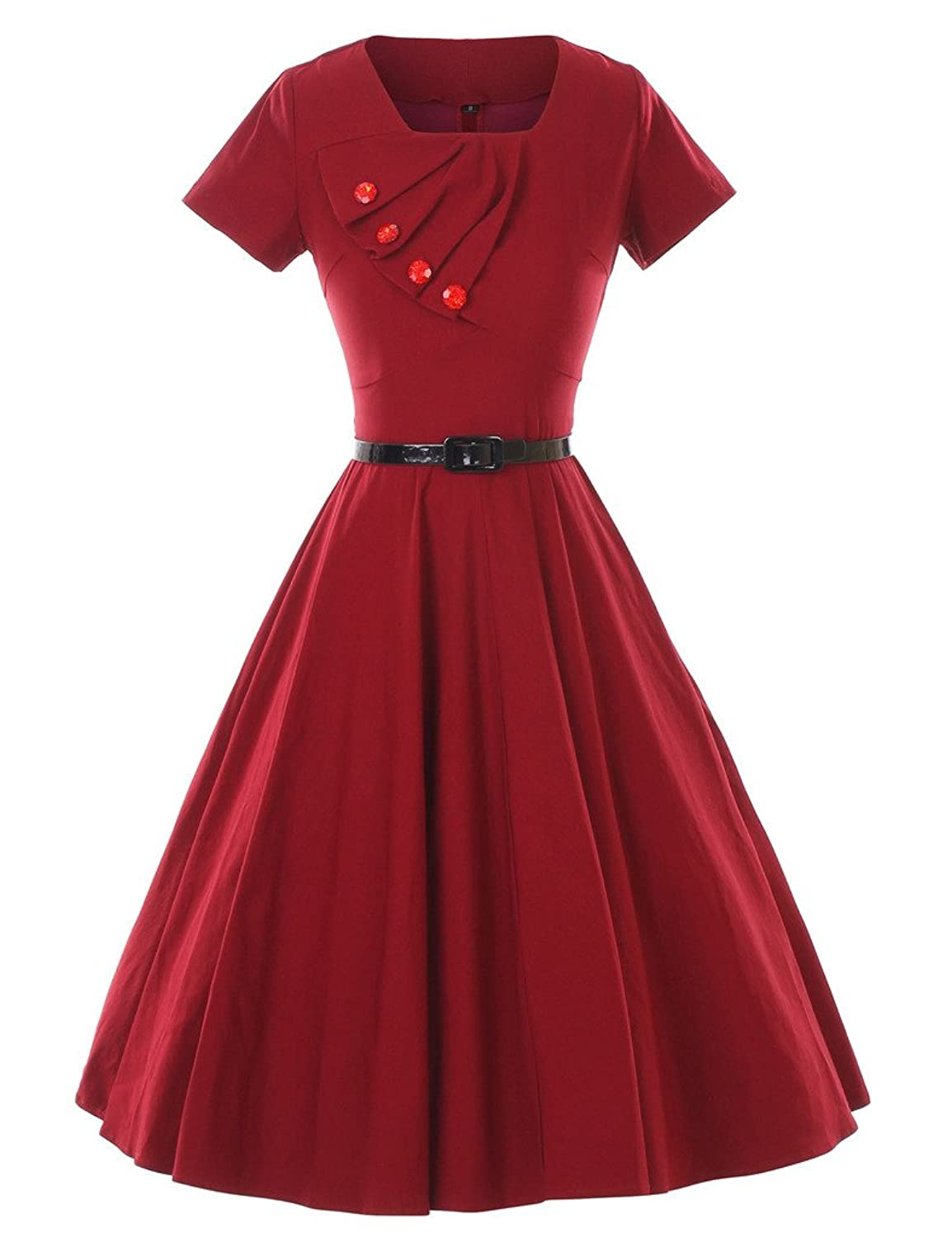 Vintage Inspired Halloween Costumes GownTown 1950s Retro Vintage Short Sleeve Party Swing Stretchy Dresses $38.98 AT vintagedancer.com