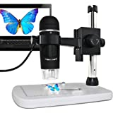 5MP USB Microscope,MAOZUA Handheld Digital Microscope 20x-300x Magnifier with Professional Base Stand for Windows, Mac, Vista with 8 LED Lights