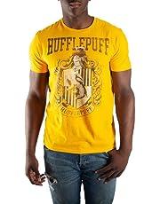 HARRY POTTER Hufflepuff House Crest Mens Yellow Hogwarts T-Shirt