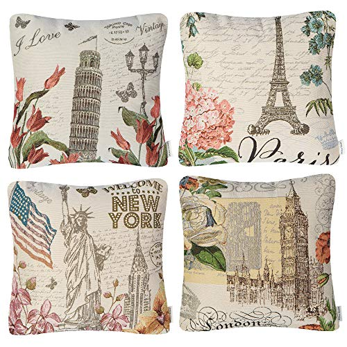(Mika Home Set of 4 Travel Series Throw Pillow Cases for Couch Decorative Cushion Covers Durable Jacquard Fabric Cream Color 18