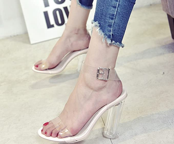 f0aff7cdd5fd0 Amazon.com: LIANGXIE Women's thick heels-sexy one word with toe ...