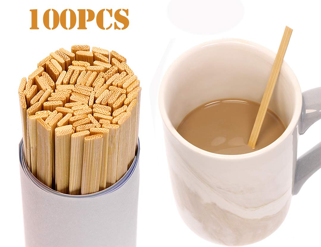 Mini Skater 5.4 Inch Bamboo Coffee Stirrers Eco Friendly Biodegradable Stir Sticks for Tea Hot Cold Beverages (100) by Mini Skater (Image #2)