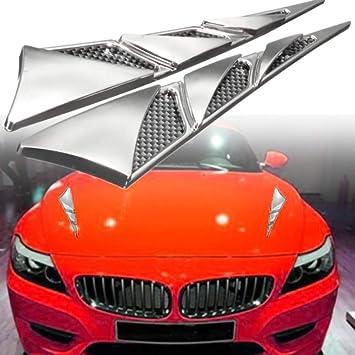 2 pcs Car Simulation Side Vents Decorative Air Flow Intake Hood Vents HI