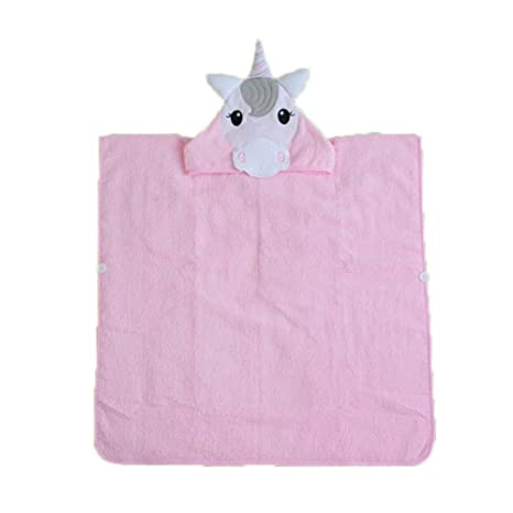 chlove Niños Albornoz algodón Unicornio Forma toalla ducha toalla playa etuch con capucha color rosa rosa