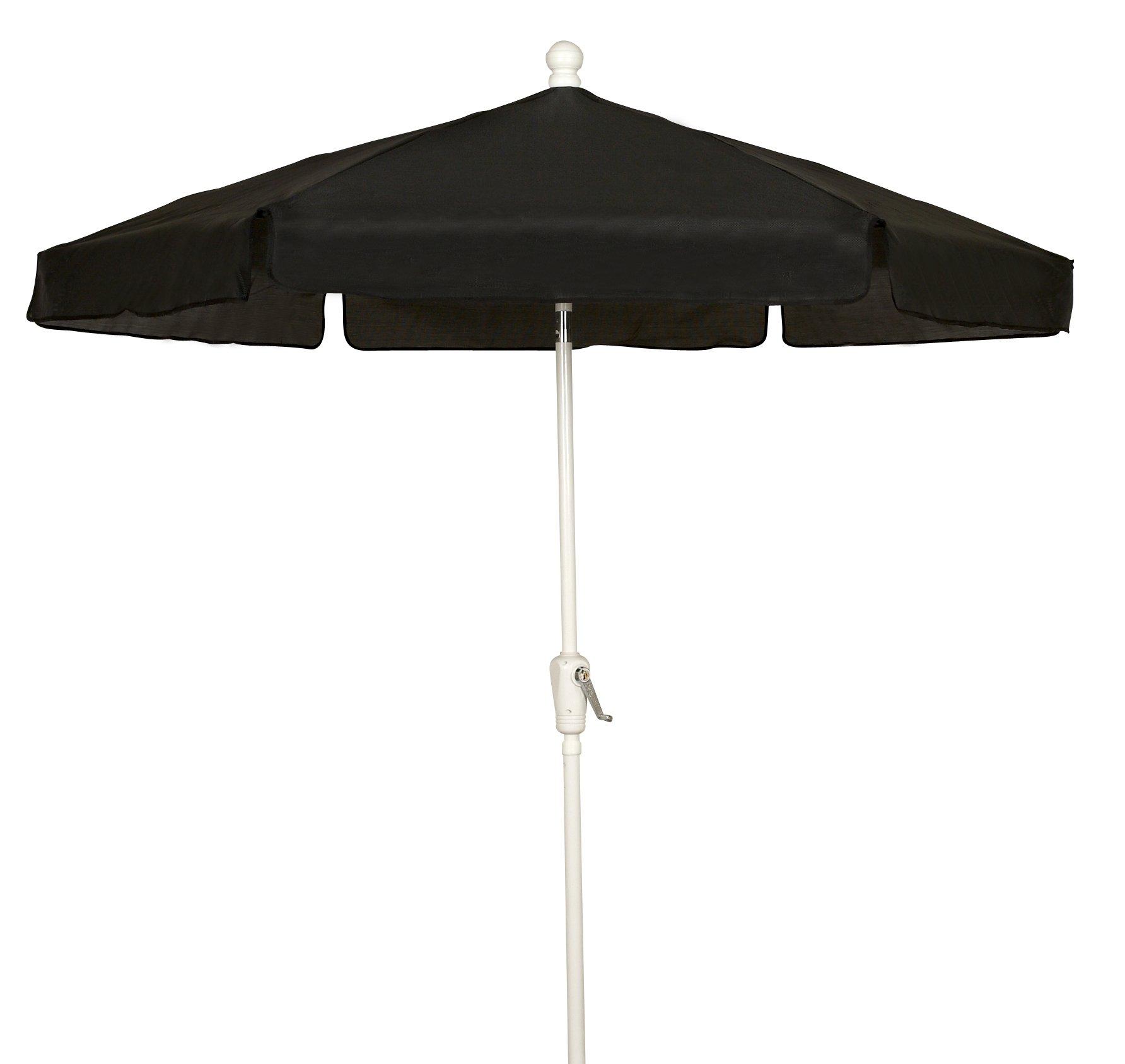 FiberBuilt Umbrellas Garden Umbrella, 7.5 Foot Black Canopy and White Pole