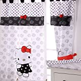 Hello Kitty Black Crib Bedding Accessory - Window Curtain