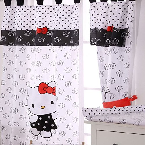 Hello Kitty Black Crib Bedding Accessory - Window Curtain by Blancho