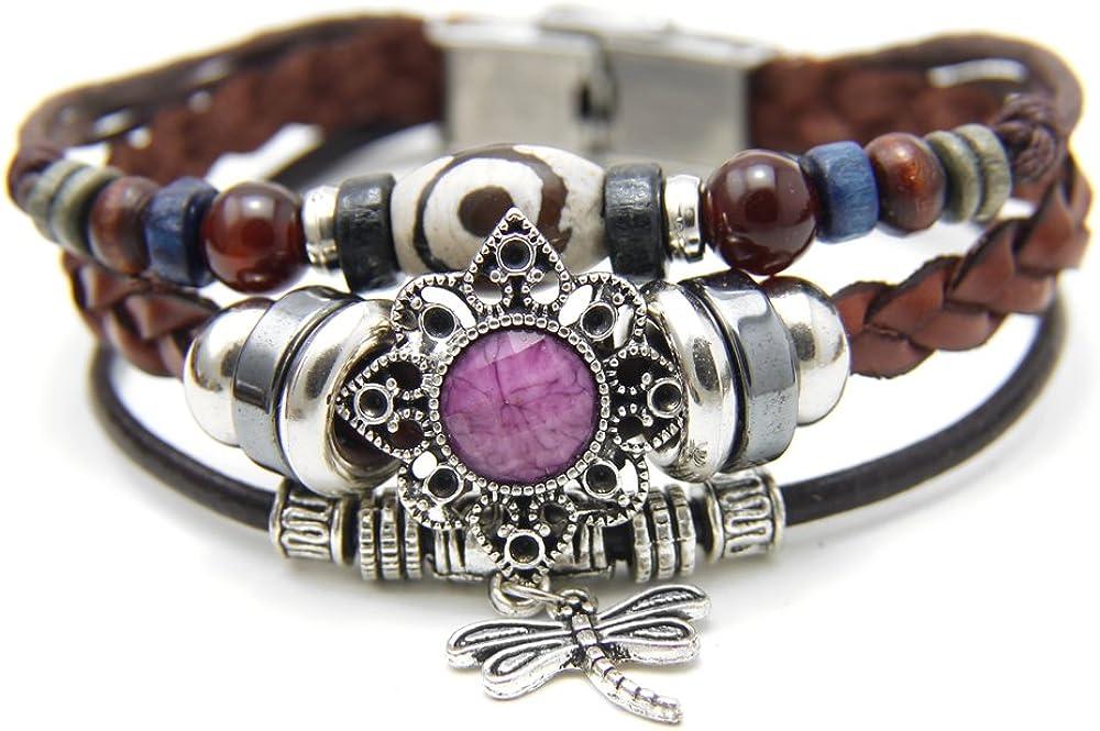Agathe creation YS722 Pulsera tibetana de la Suerte con Colgante de libélula, Piel, Perlas de Madera y Metal, Hecha a Mano