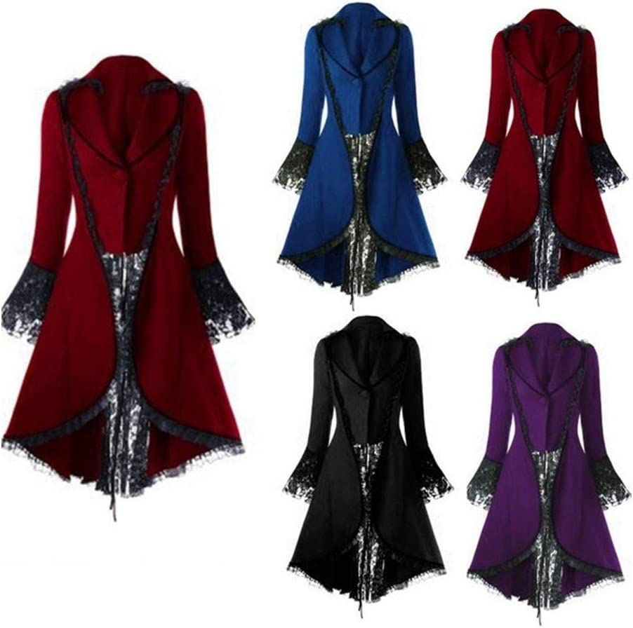 PPangUDing Damen Mittelalter Kleid Vintage Gothic Steampunk Langarm Viktorianischen Prinzessin Renaissance Cosplay Kost/üm Erwachsenenkost/üm Smoking Jacke Minirock F/ür Halloween Karneval