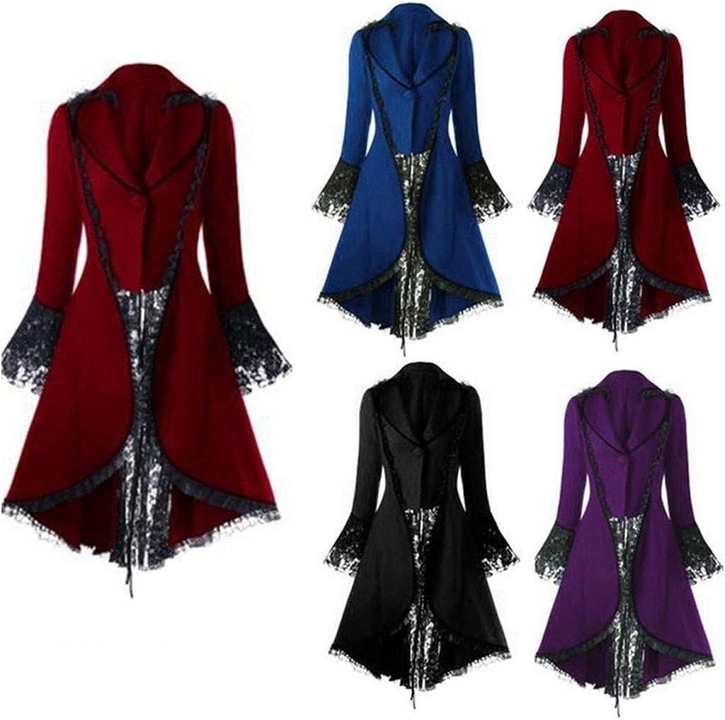 Jacke Damen Steampunk Gothic Long Coat Piebo Frauen Punk Vintage Spitze Panel Langärmelige Taille Rücken Bandage Stitching Mantel Viktorianischen