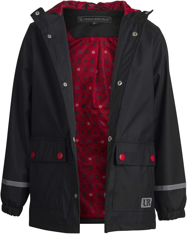 Size 7 Black Urban Republic Boys Waterproof Vinyl Hooded Rain Jacket with Snap Closure