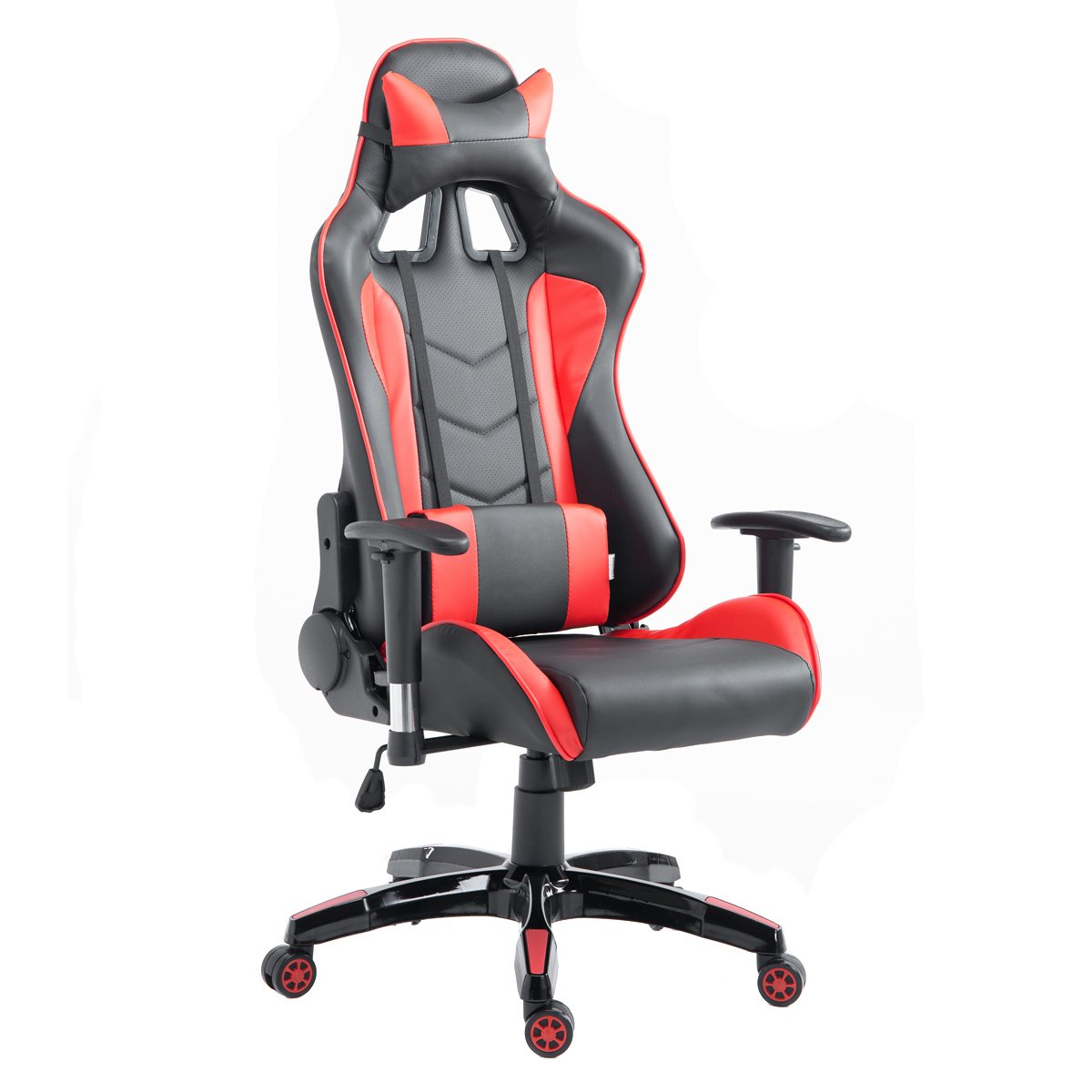 Giantex High Back Executive Racing Reclining Gaming Chair Swivel PU Leather Office Chair (Red)