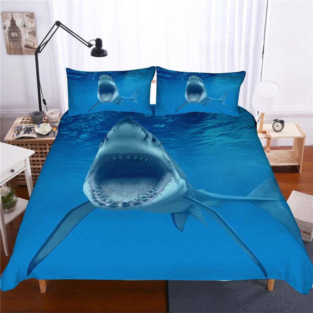 Stillshine Funda n/órdica Cama 90 Tiburon Tortuga Delf/ín 3D Animal Mundo oce/ánico Azul Ropa de Cama ni/ños Funda n/órdica y Funda de Almohada