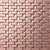 3D Shining Glass Rose Gold Aluminum Self-adhesive Mural Arts Wallpaper for Room Stair Nursery Decor Ceiling tiles mosaic stickers - F12 (22PCS 21.52Sq.ft)