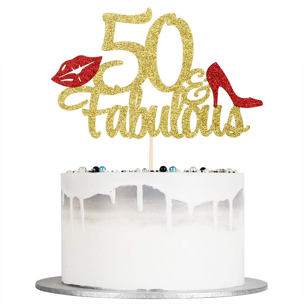 Auteby 50 & Fabulous Cake Topper - Gold Glitter Happy 50th Birthday 50th Anniverdary Party Decorations (50)