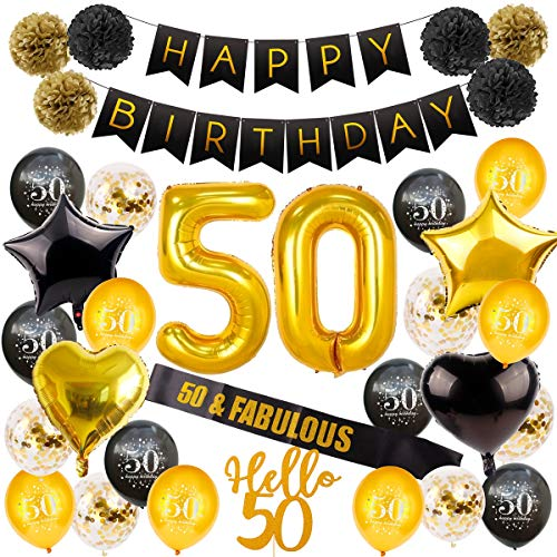 50th Birthday Decorations Party Supplies - Gold 50 Birthday Balloon Number, 50th Birthday Banners, 50 & Fabulous Birthday sash, 50 Cake Topper, Paper Pom Poms, 50th Party Decoration by QIFU -