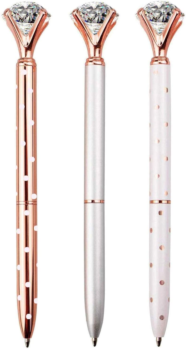 LONGKEY 3PCS Diamond Pens Big Crystal Diamond Ballpoint Pen Bling Metal Ballpoint Pen Offices and Schools, Silver/White With Rose Polka Dots/Rose Gold with White Polka Dots, Includes 3 Pen Refills.