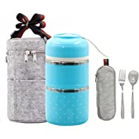 Lalifit Stainless Steel Stackable Thermal Lunch Box 2 Tier Vacuum Leak-Proof Food Container Insulated Storage Carrier with Spoon and Fork Set(Blue)