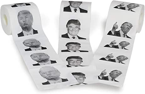 Novelty Place [3 Rolls] Donald Trump Toilet Paper 3 Different Pictures - 250 Sheets per Roll - Smile & Kiss, Funny Political Gag Gift
