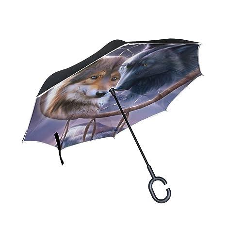 jstel doble capa invertida Atrapasueños lobo paraguas coches ...