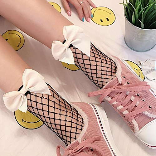 Women Girl Black Lace Ruffle Fishnet Ultrathin With Elastic Breathable Ankle Socks Hosiery Set