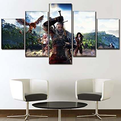 Amazon Com Zlqf Modern Wall Paintings Artwork Game The Witcher 3