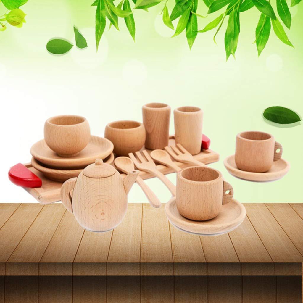 Tasse /à th/é HOTPINK1 1Set Outils de Vaisselle en Bois comprennent th/éi/ère Accessoires de Vaisselle de Cuisine Miniatures pour Enfants