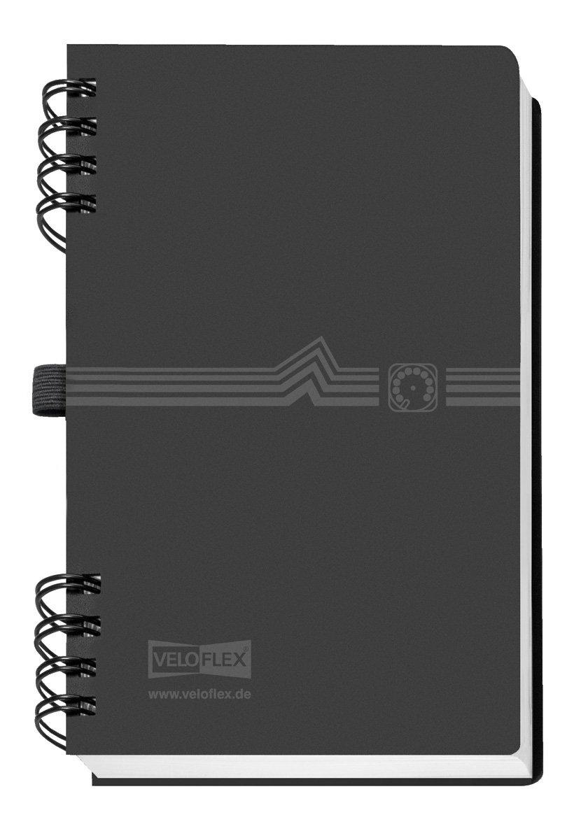 Veloflex 5106180 Adressbuch mit Spiralbindung, A6, schwarz