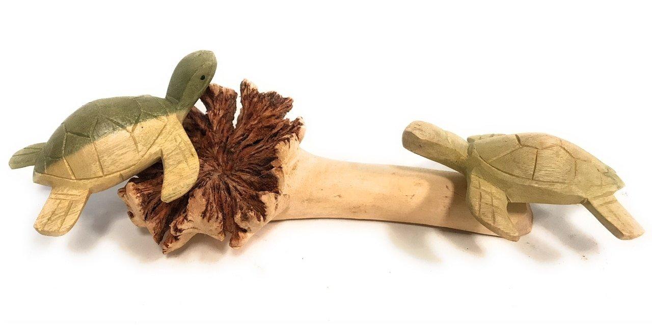 TikiMaster Sea Turtles w/Driftwood Base 9''W X 4''D - Carved | #jro02