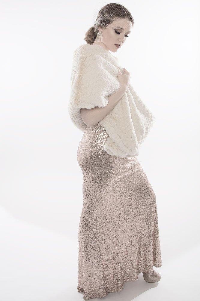 The Brigitte Bardot- Ivory Sheared Tissavel Faux Fur Wrap