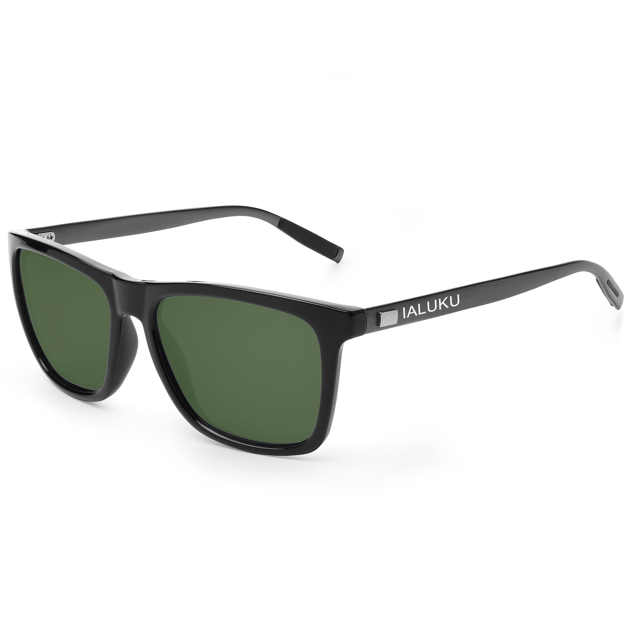 IALUKU Wayfarer Sunglasses Polarized Women Men Mirrored UV400 Full Frame (Black / Green, 60)