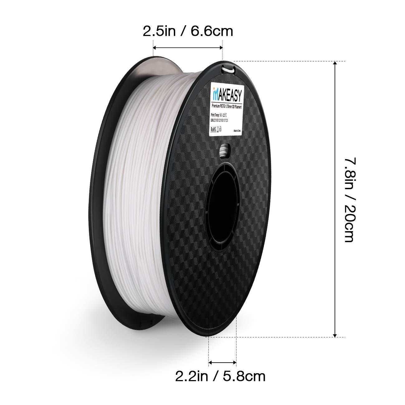 1 MAKEASY para impresora 3D 1 kg Spool 3D Printer Filamento 1,75 mm PETG Negro