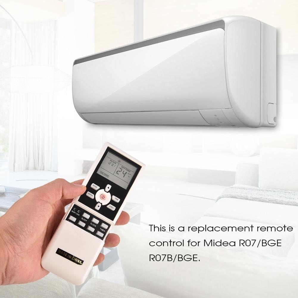 ABS Resistente allUsura e Durevole Telecomando Condizionatore DC 3V Fino a 10 Metri Kafuty Telecomando Portatile per Condizionatore Climatizzatore per Midea R07//BGE R07B//BGE Bianco