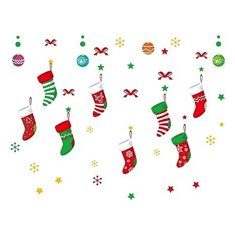 Calcetines de Navidad vinilo adhesivo de pared creativo extraíble arte papel de pared para dormitorio,