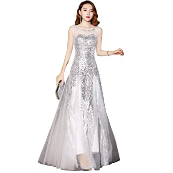 f74eefdf1 Vestido de Dama de Honor Largo Blanco de Plata con Lentejuelas Vestido de  Noche de Cuello Redondo Ailin Home (Color   Silver White