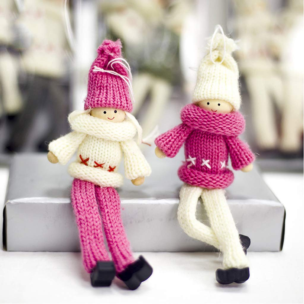 hergon 2pcs Christmas Wool Dolls, Christmas Tree Hanging Ornament, Home Party Wall Decor (pink)
