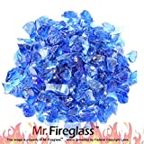 Image of Mr. Fireglass Recycled Fire Glass for Natural or Propane Fire Pit Fireplace Gas Log Sets, 20 Pounds, Cobalt Blue