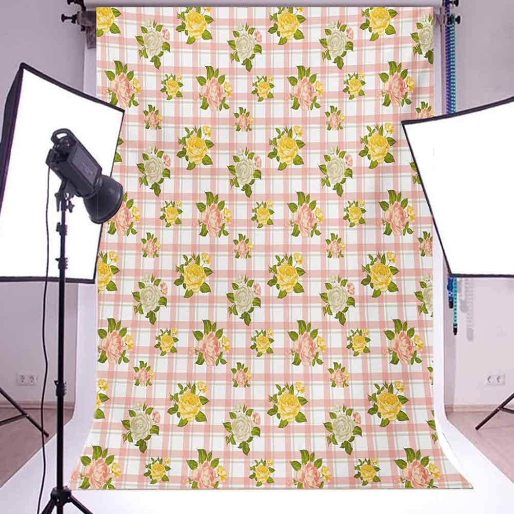 Shabby Chic 10x12 FT Photography Backdrop Flower Inspired Vector Illustration of Roses with Leaves Art Print Background for Party Home Decor Outdoorsy Theme Vinyl Shoot Props Coral and Olive Green