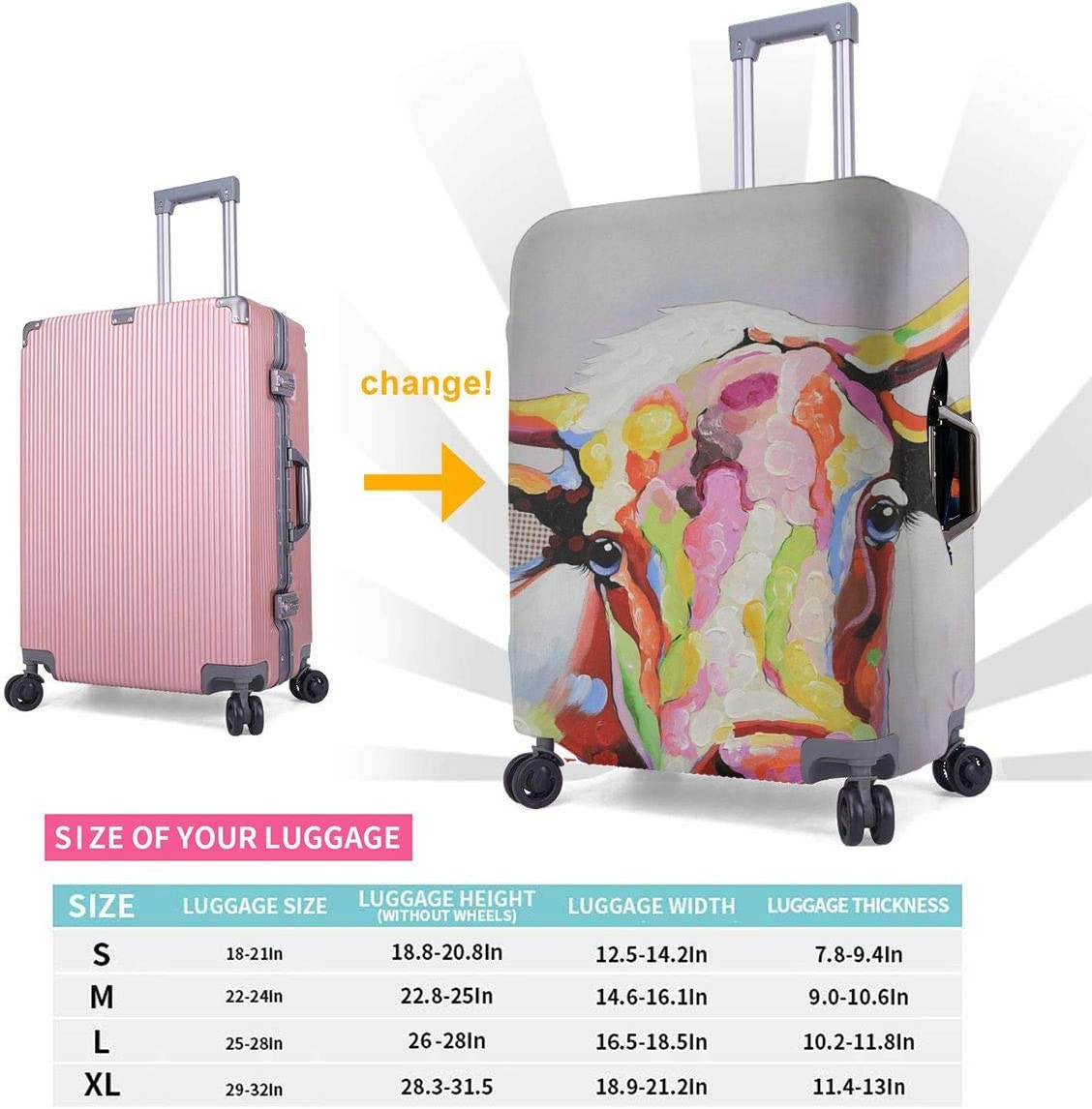 Yuotry Travel Luggage Cover Color Cattle Head Zipper Suitcase Protector Luggage with Fixed Buckle Fits 18-32 Inch Luggage XL