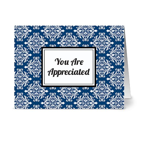 (Modern Royal Damask 'You're Appreciated' Navy - 24 Cards - Blank Cards w/ Grey Envelopes Included)